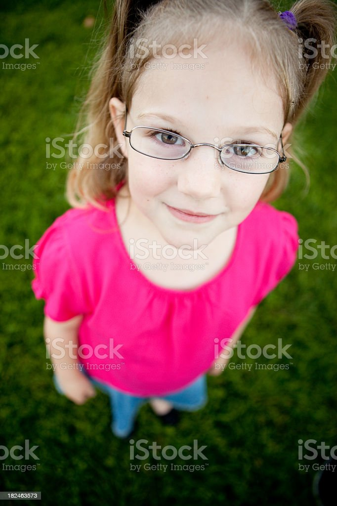 Happy Girl Wearing Glasses Outside royalty-free stock photo