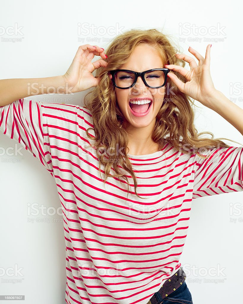 Happy girl wearing glasses stock photo