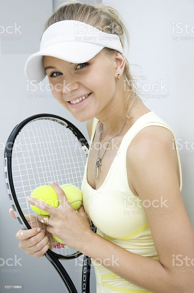 happy girl with a tennis racket royalty-free stock photo