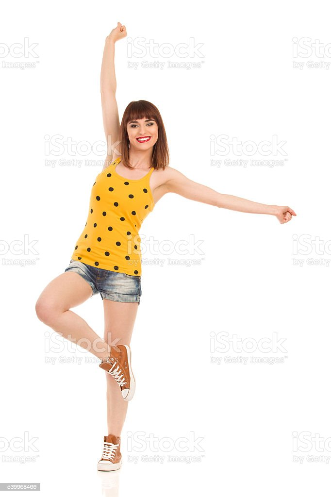 Happy Girl With Arms Outstretched stock photo