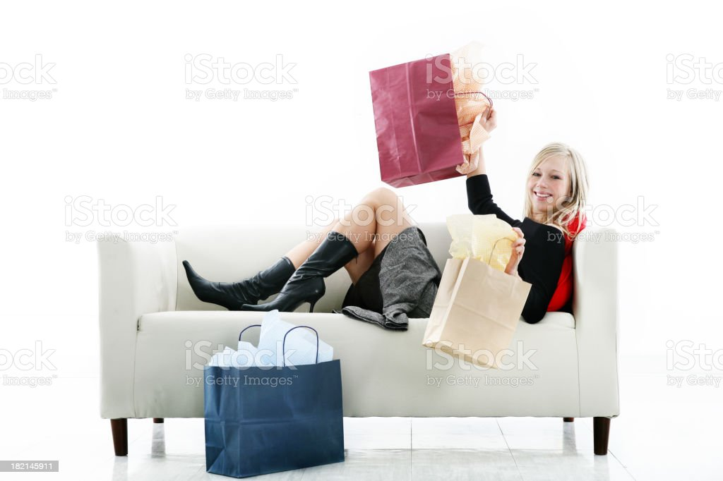 Happy girl with bags royalty-free stock photo