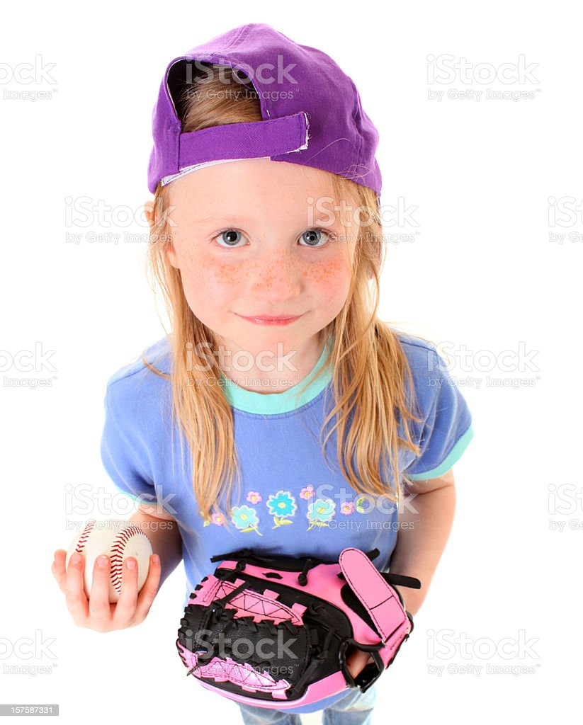 happy girl with ball and glove stock photo