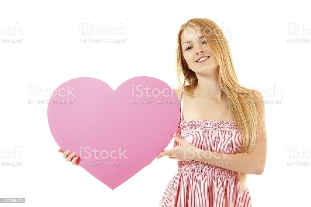 happy girl with big pink heart royalty-free stock photo
