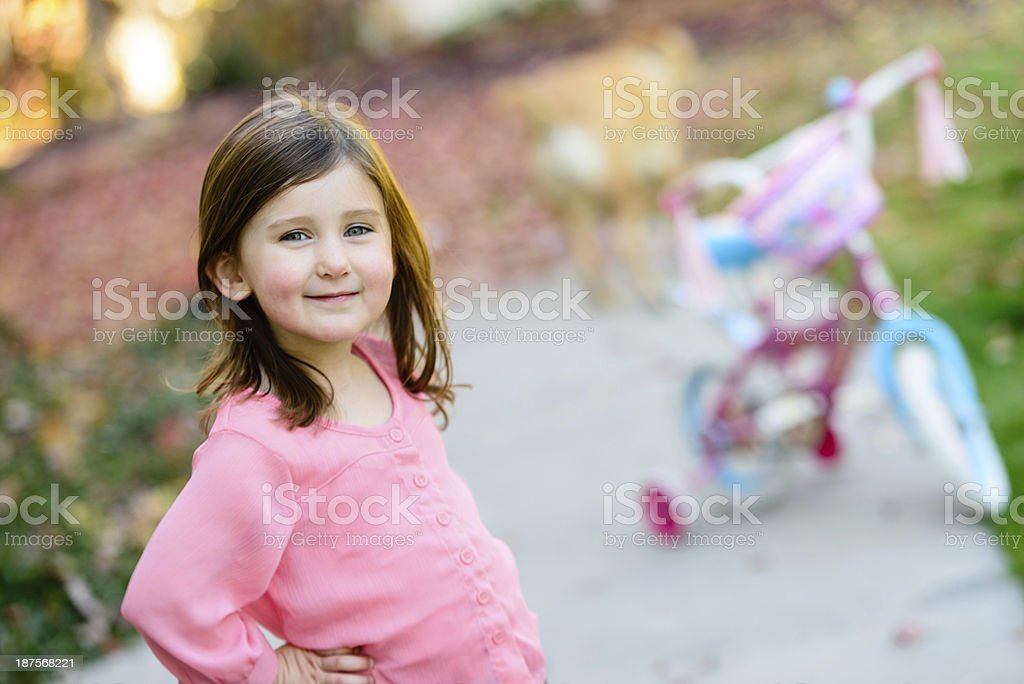 Happy Girl With Bike royalty-free stock photo