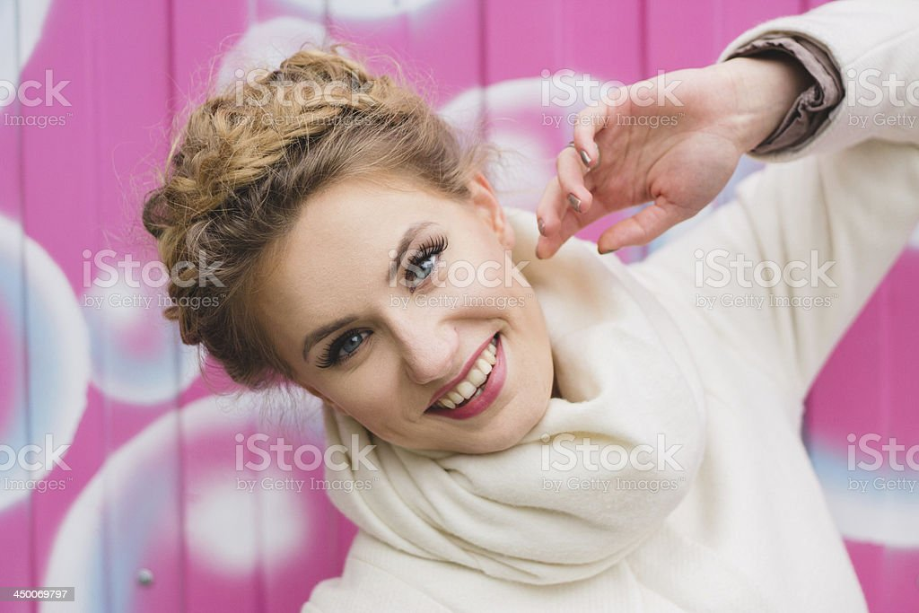 Happy girl with bubbles royalty-free stock photo
