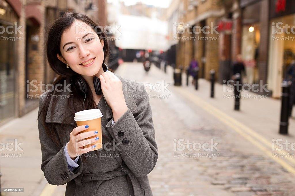happy girl with coffee royalty-free stock photo