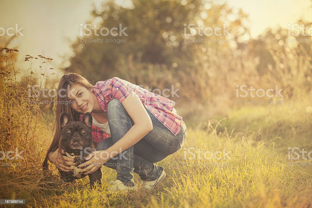 happy girl with dog royalty-free stock photo