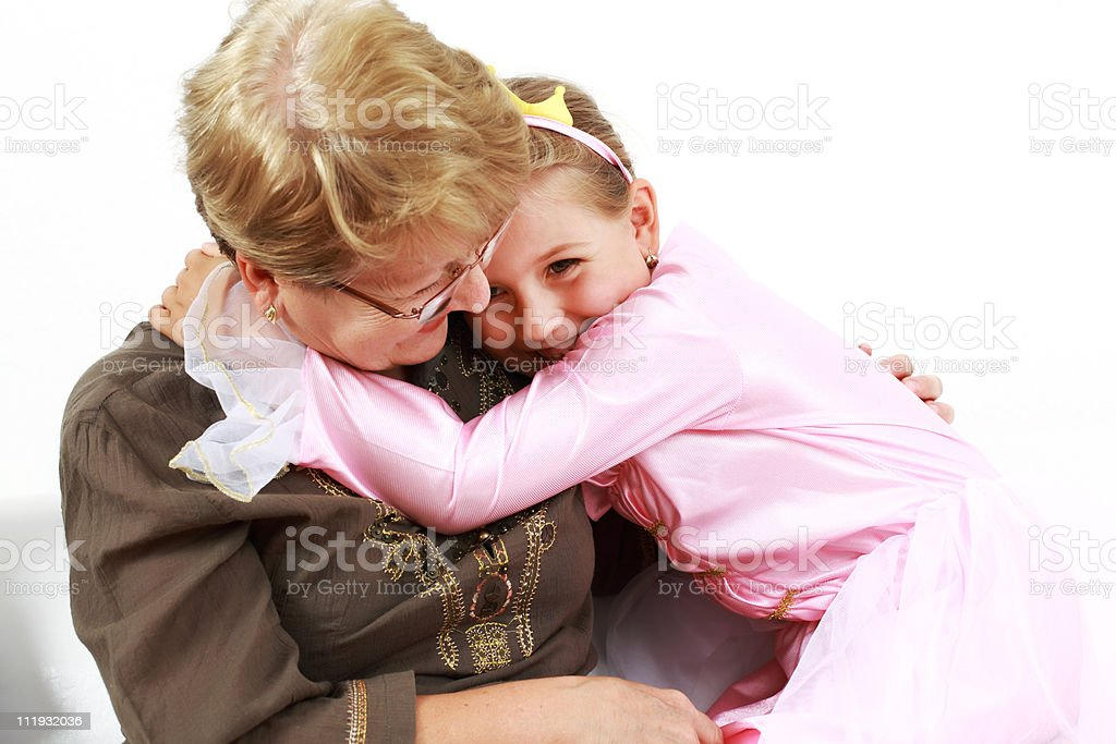 Happy girl with granny royalty-free stock photo