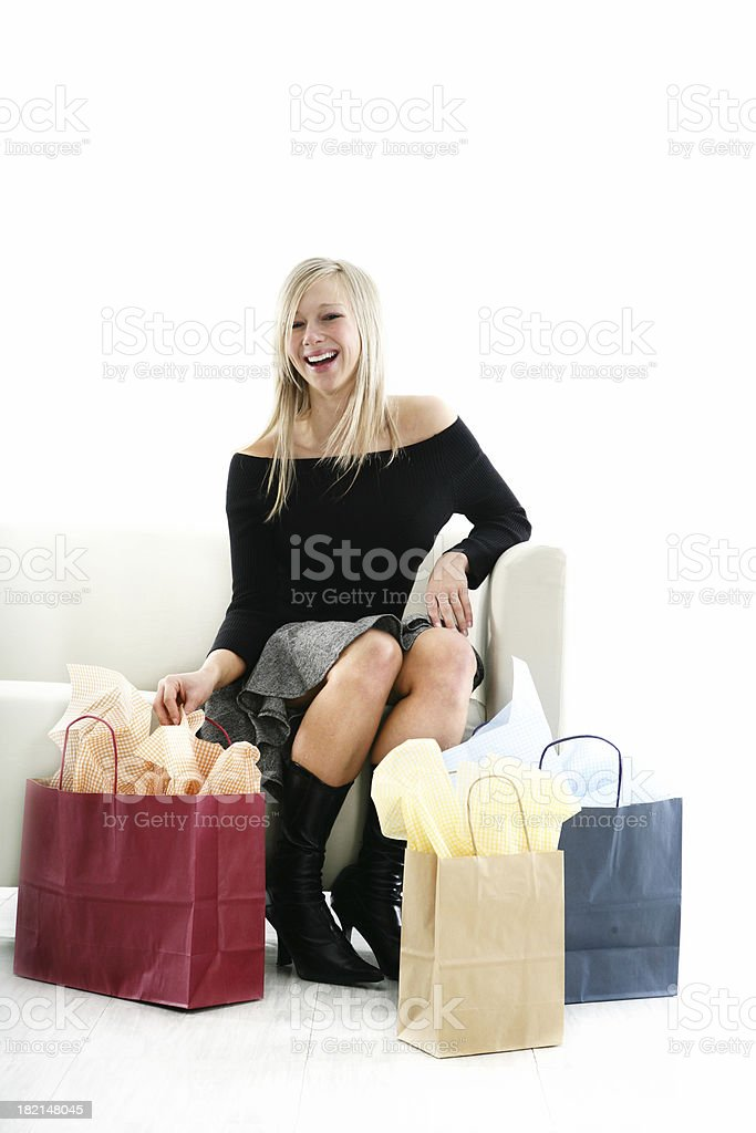 Happy girl with her bags royalty-free stock photo