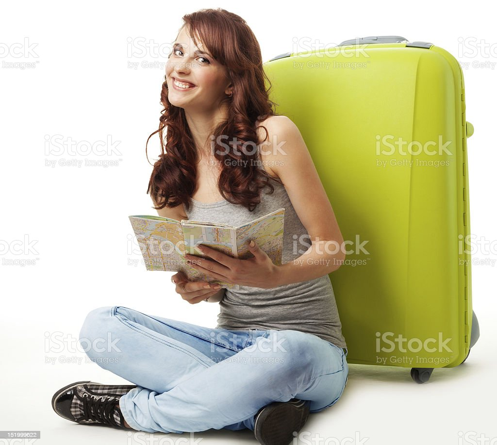Happy girl with map and luggage royalty-free stock photo