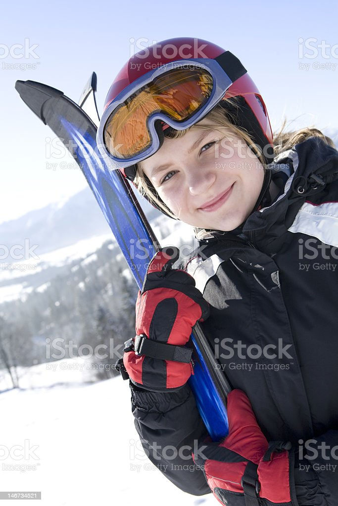 Happy girl with ski royalty-free stock photo