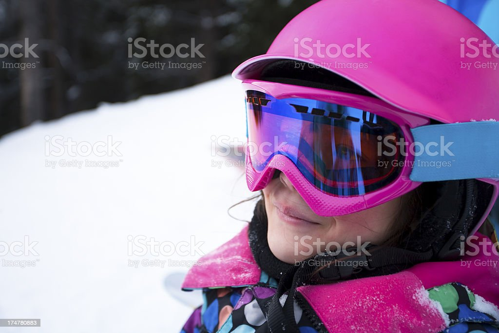 Happy girl with snowboard gear royalty-free stock photo