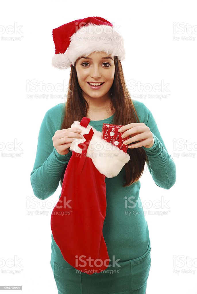 Happy girl with stocking royalty-free stock photo