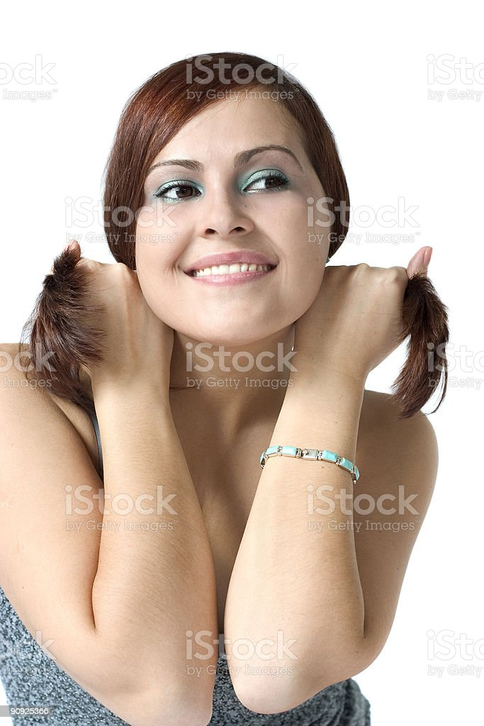 happy girl with tails royalty-free stock photo