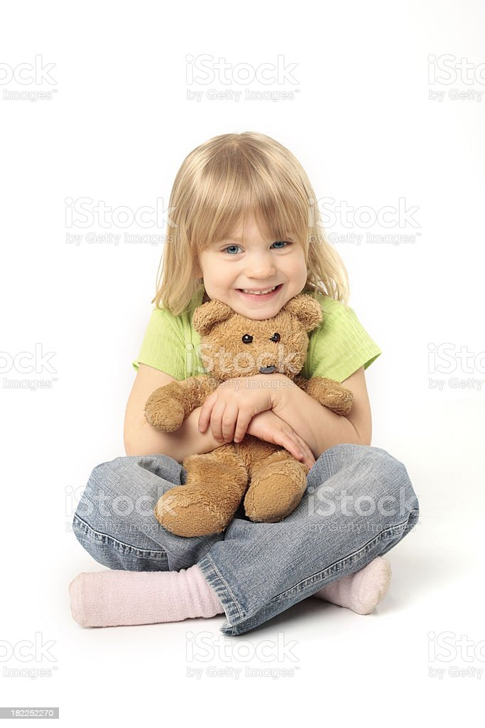 Happy girl with Teddy royalty-free stock photo