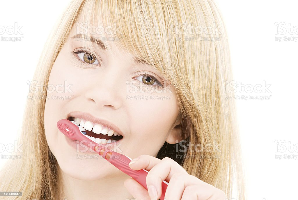 happy girl with toothbrush royalty-free stock photo