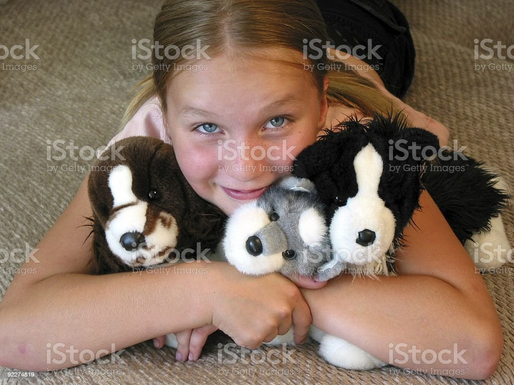 Happy girl with toys royalty-free stock photo
