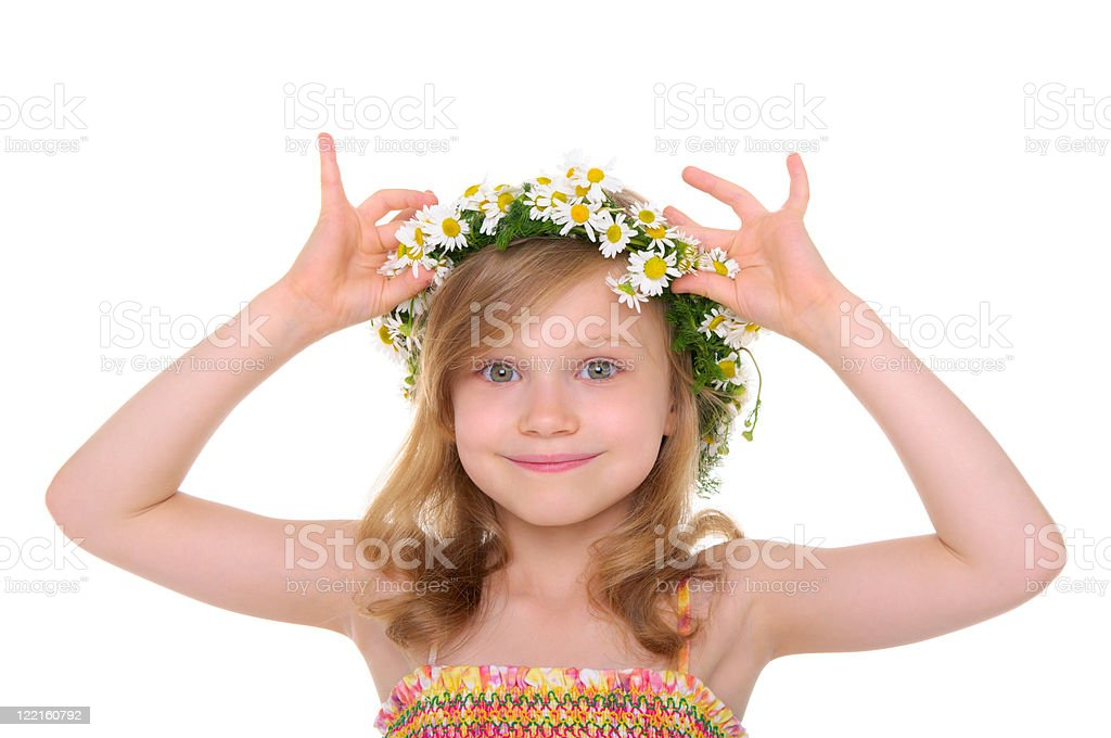 happy girl with wreath of daisies royalty-free stock photo