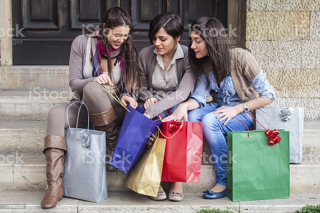 happy girls doing shopping royalty-free stock photo
