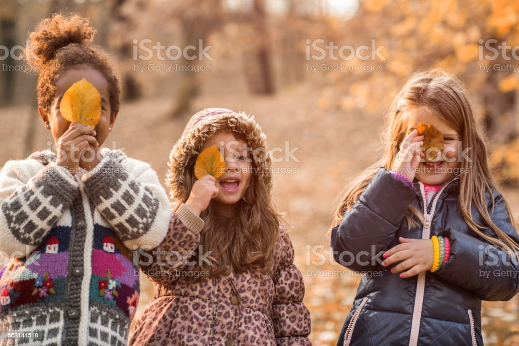 Happy girls hiding their eyes with autumn leaves in nature. stock photo
