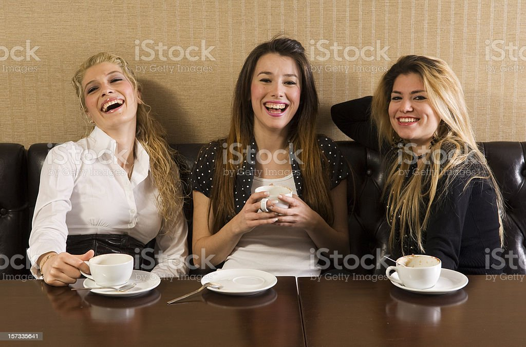 happy girls in cafe royalty-free stock photo