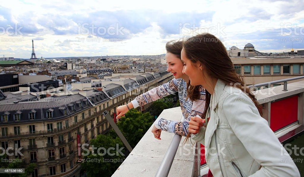 Happy girls in Paris stock photo