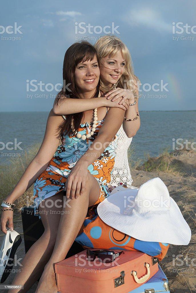 happy girls on the beach stock photo