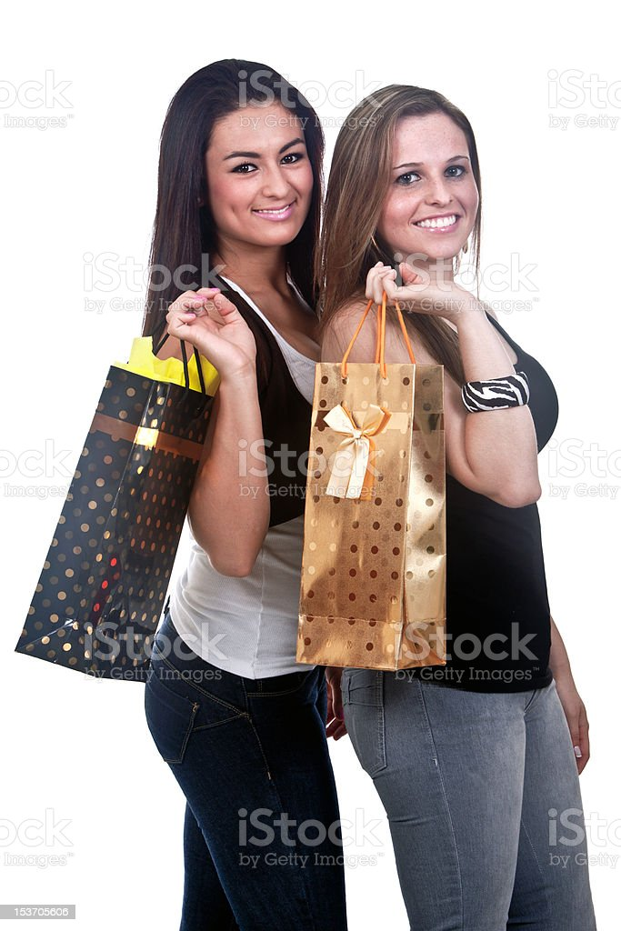 Happy Girls Shopping royalty-free stock photo