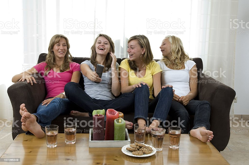 happy girls watching television royalty-free stock photo