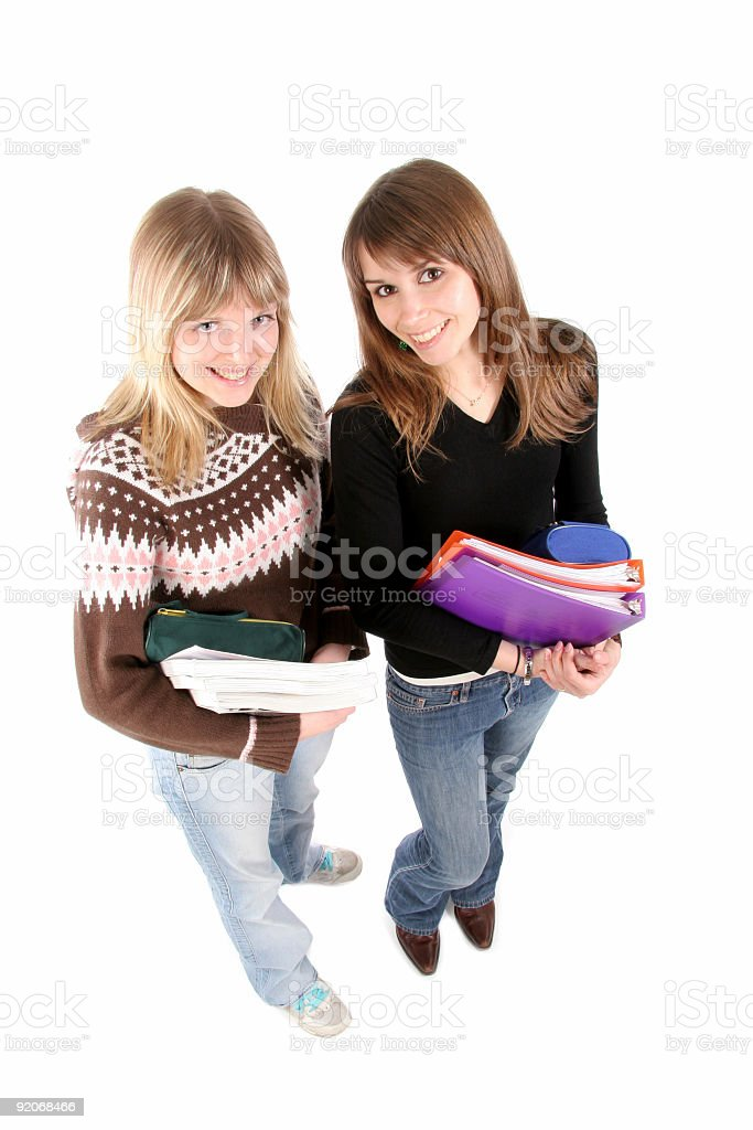happy girls with books royalty-free stock photo
