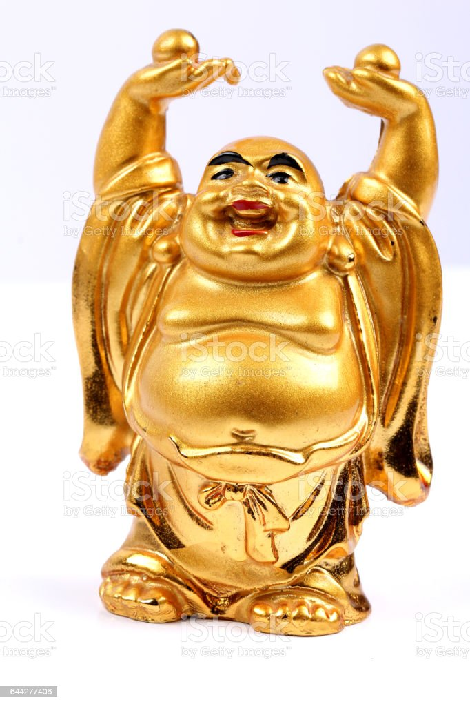 Happy golden laughing Buddha on a white background stock photo