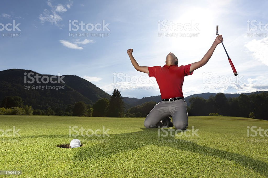 Happy golf player on green. royalty-free stock photo