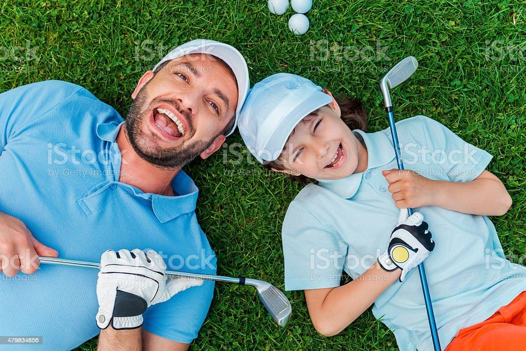 Happy golfers. stock photo