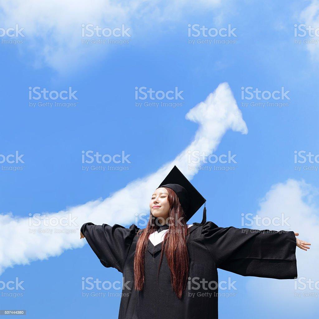 happy graduate student girl stock photo