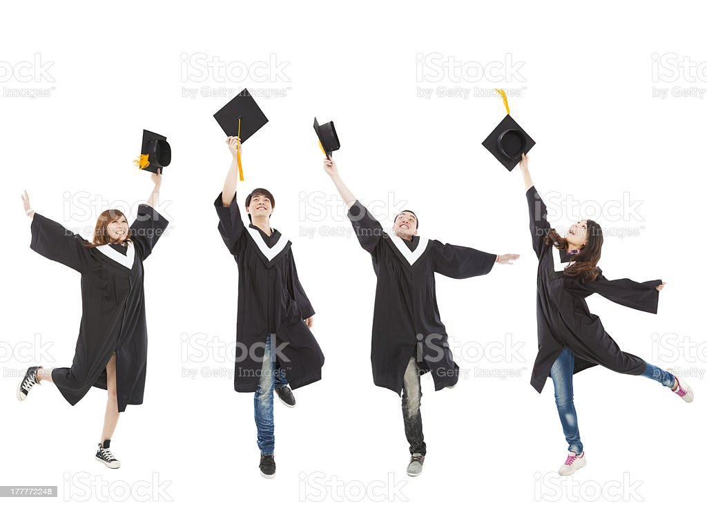 happy  graduate students group royalty-free stock photo