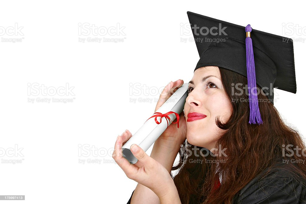 Happy graduate with diploma royalty-free stock photo