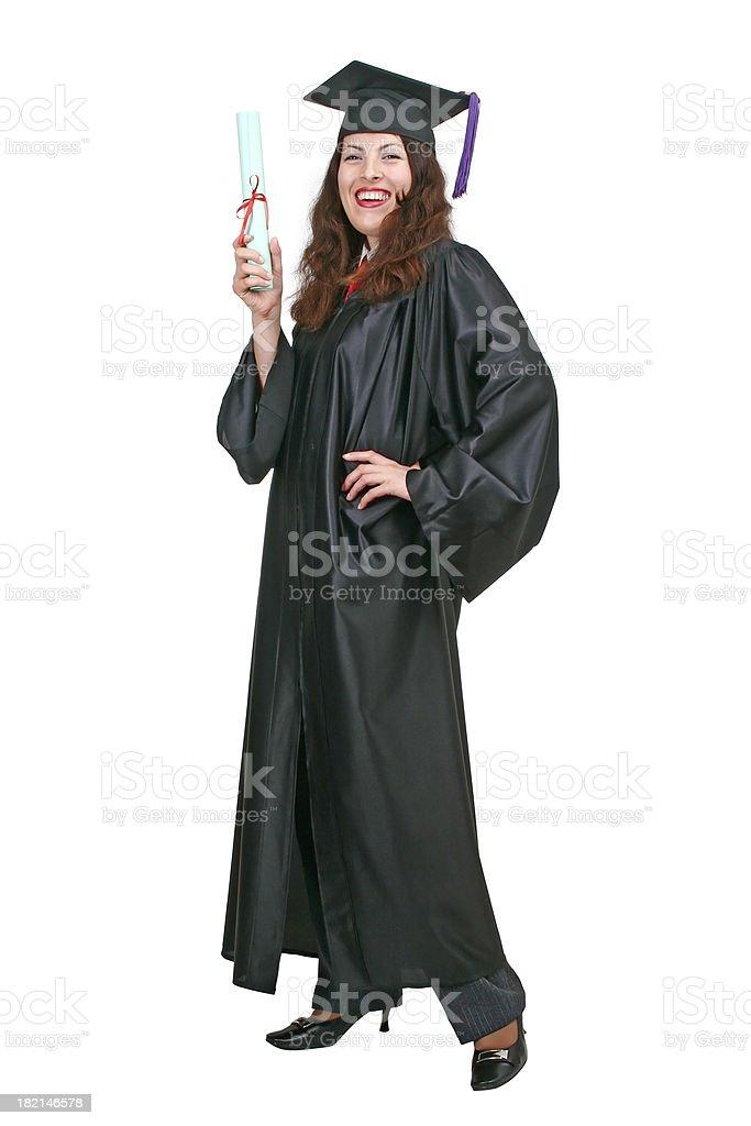 Happy graduate with diploma royalty-free stock photo