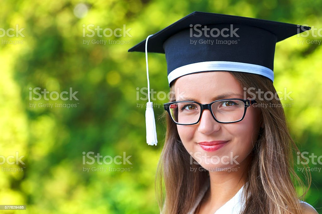 Happy graduating student stock photo