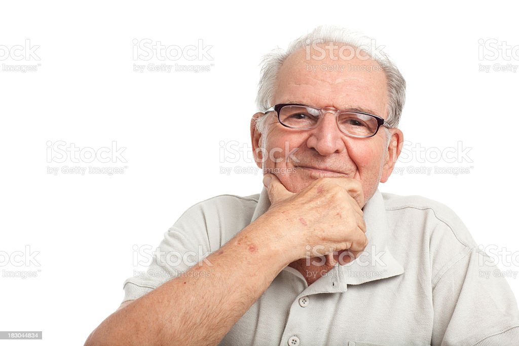 Happy grandfather on white. royalty-free stock photo