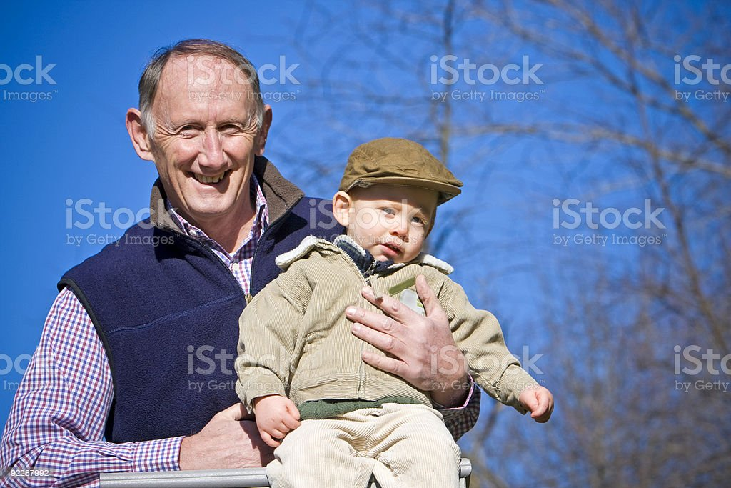 Happy grandfather stock photo
