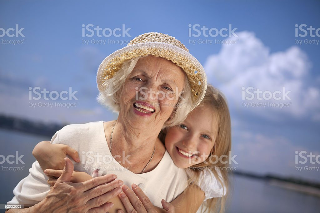 Happy Grandmother and Granddaughter. royalty-free stock photo