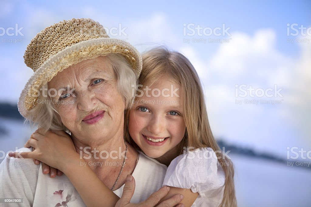 Happy Grandmother and Granddaughter. XXXL royalty-free stock photo