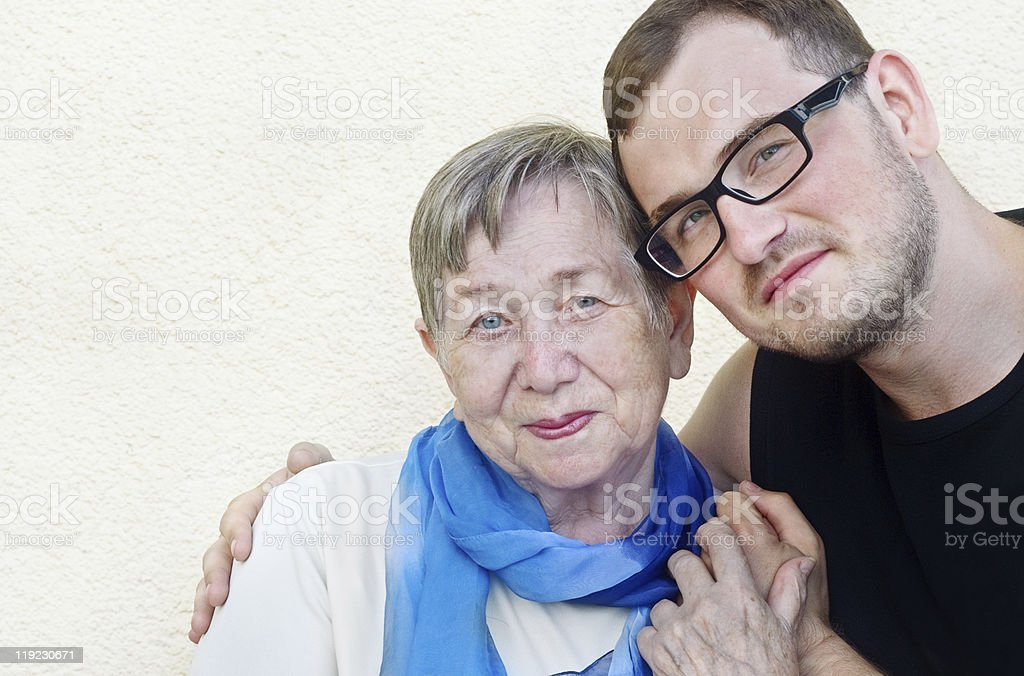 Happy grandmother and grandson royalty-free stock photo