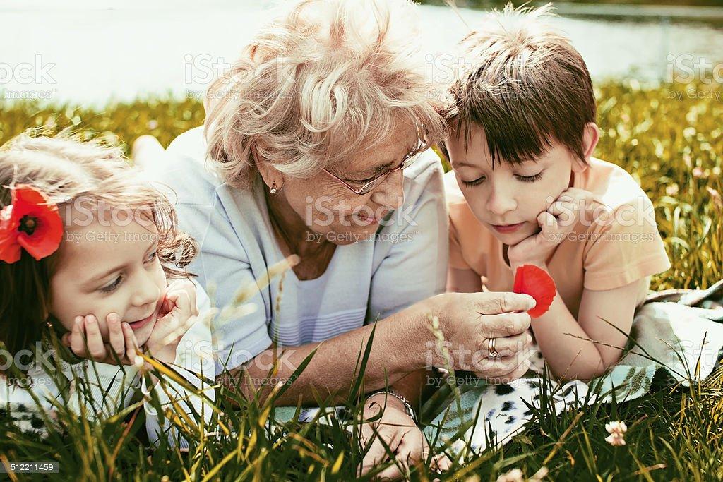 happy grandmother with grandchildren outdoors stock photo