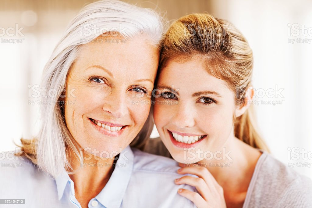Happy Grandmother With Granddaughter royalty-free stock photo
