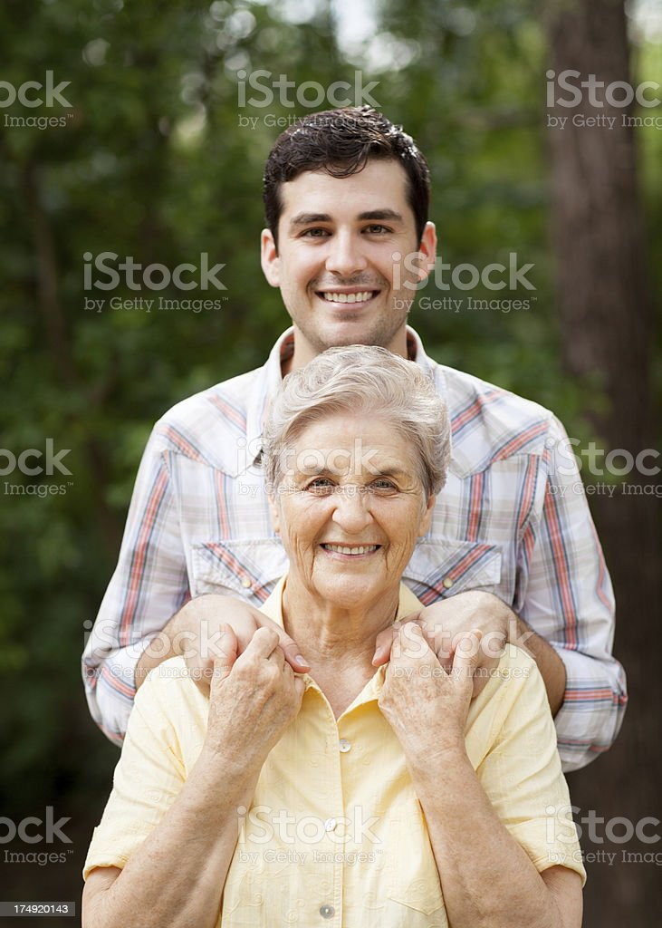 Happy grandmother with grandson royalty-free stock photo