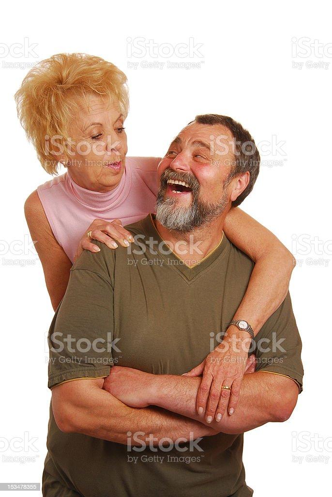 Happy grandpa with granny royalty-free stock photo