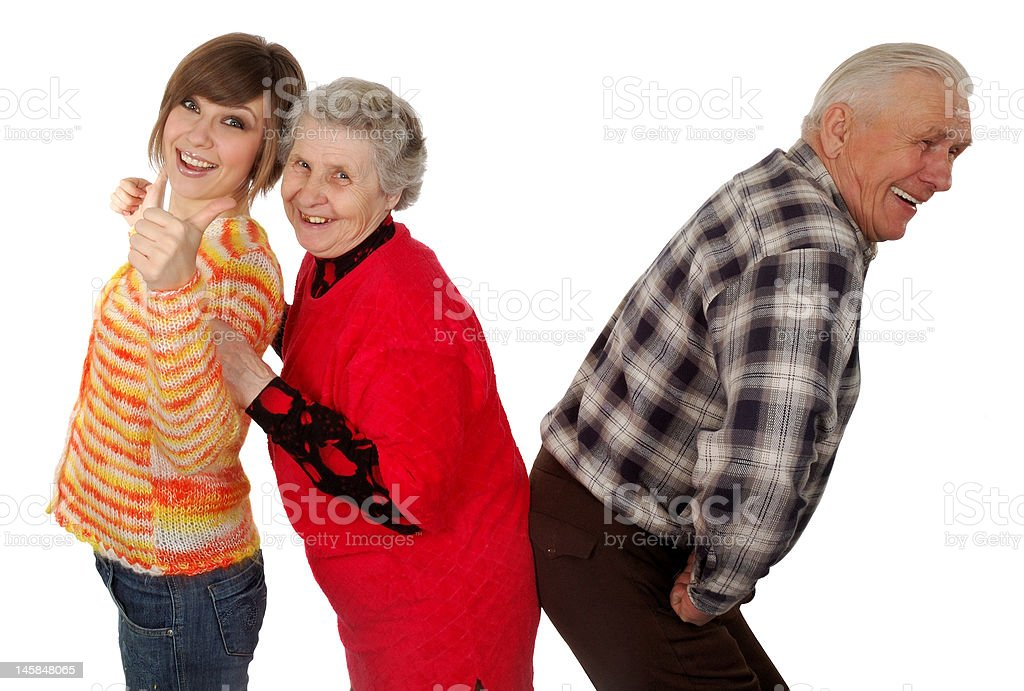happy grandparents and granddaughter play fool royalty-free stock photo