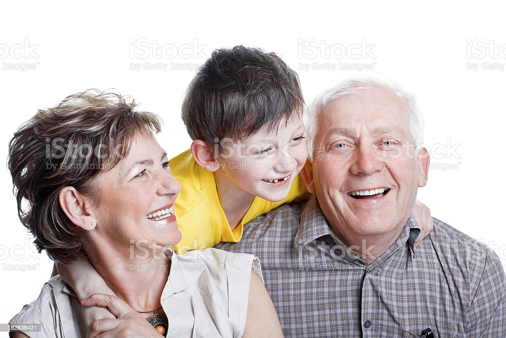 Happy grandparents with grandson, Studio Portrait royalty-free stock photo