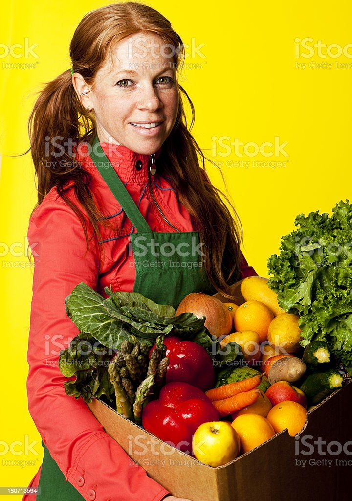 happy green grocer royalty-free stock photo